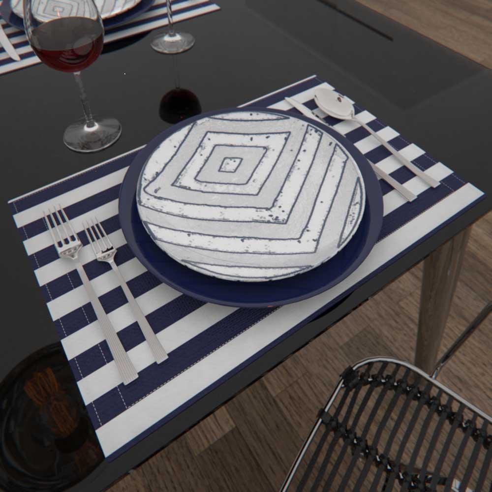 jogo americano listrado azul para o café da manhã