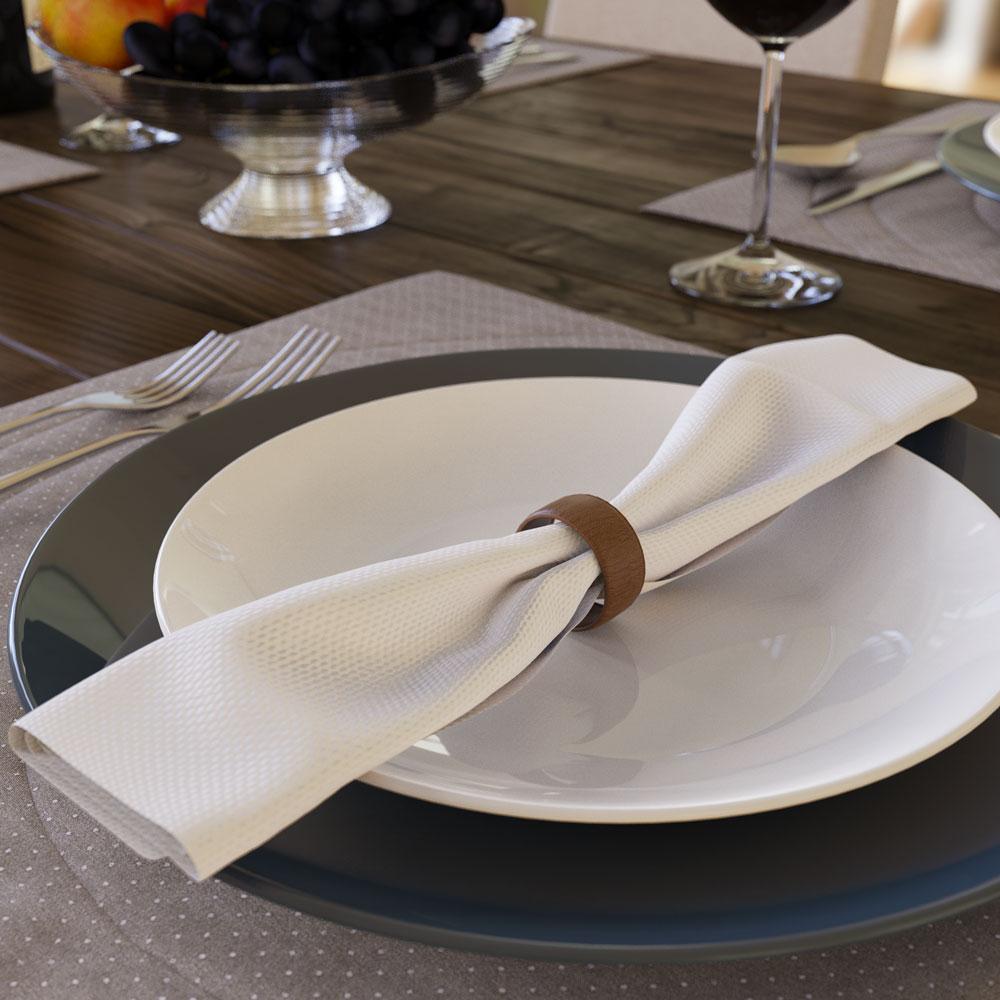 guardanapo de tecido branco de algodão na mesa