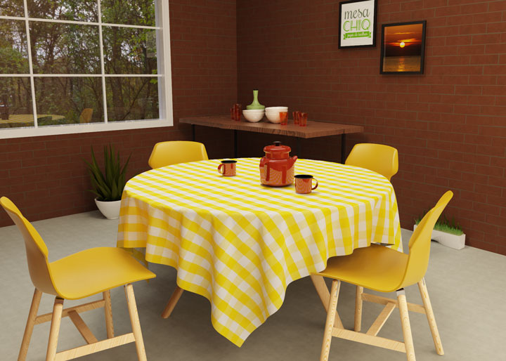 toalha de mesa redonda 4 lugares xadrez amarela