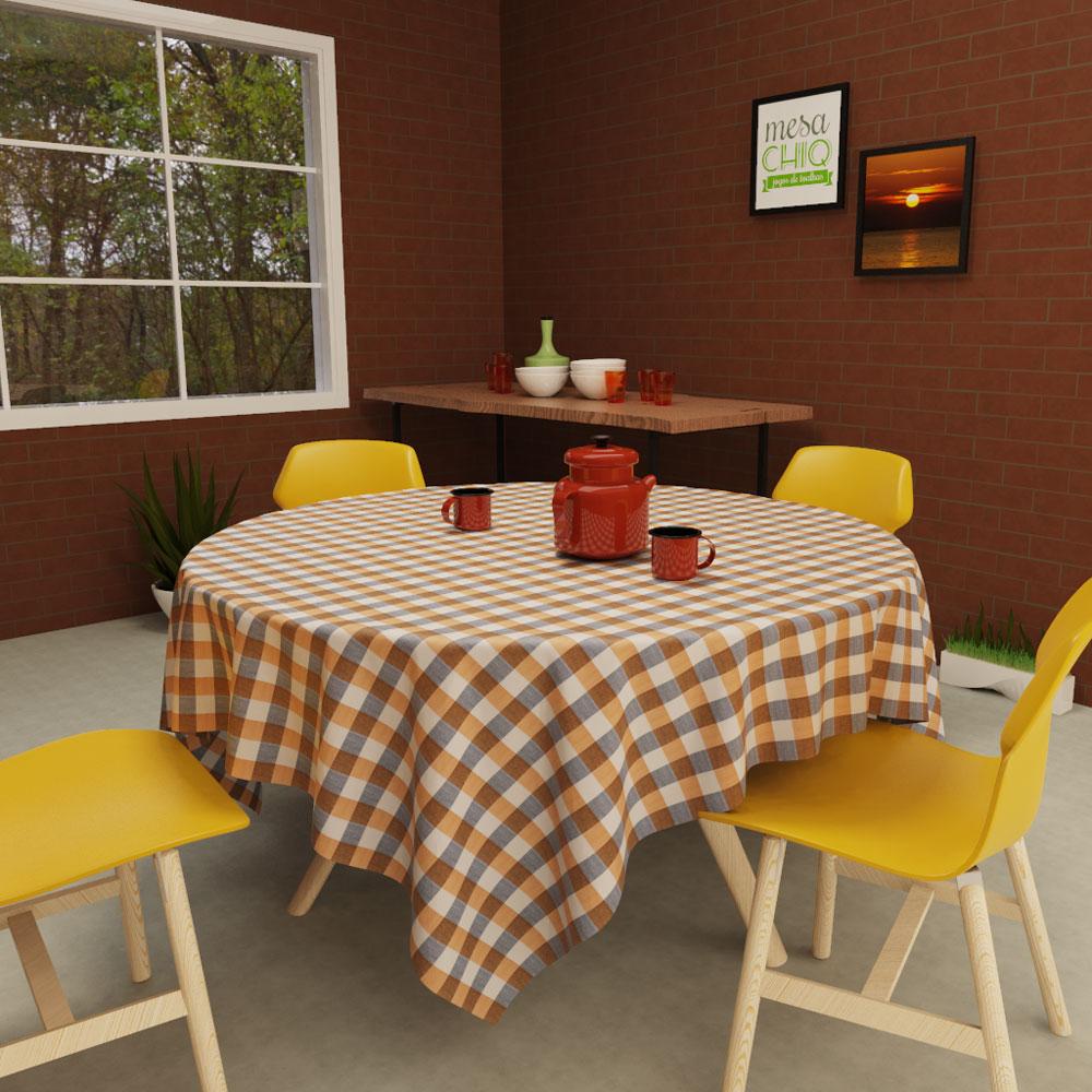 toalha de mesa xadrez redonda 4 lugares