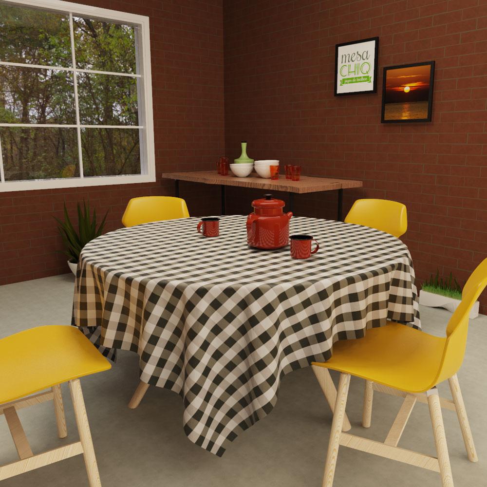 toalha de mesa xadrez preta e cinza