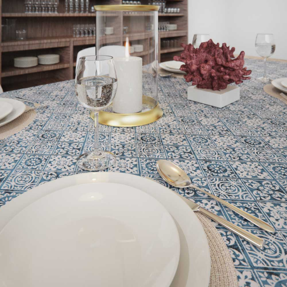 toalha de mesa sob medida azul para decorar