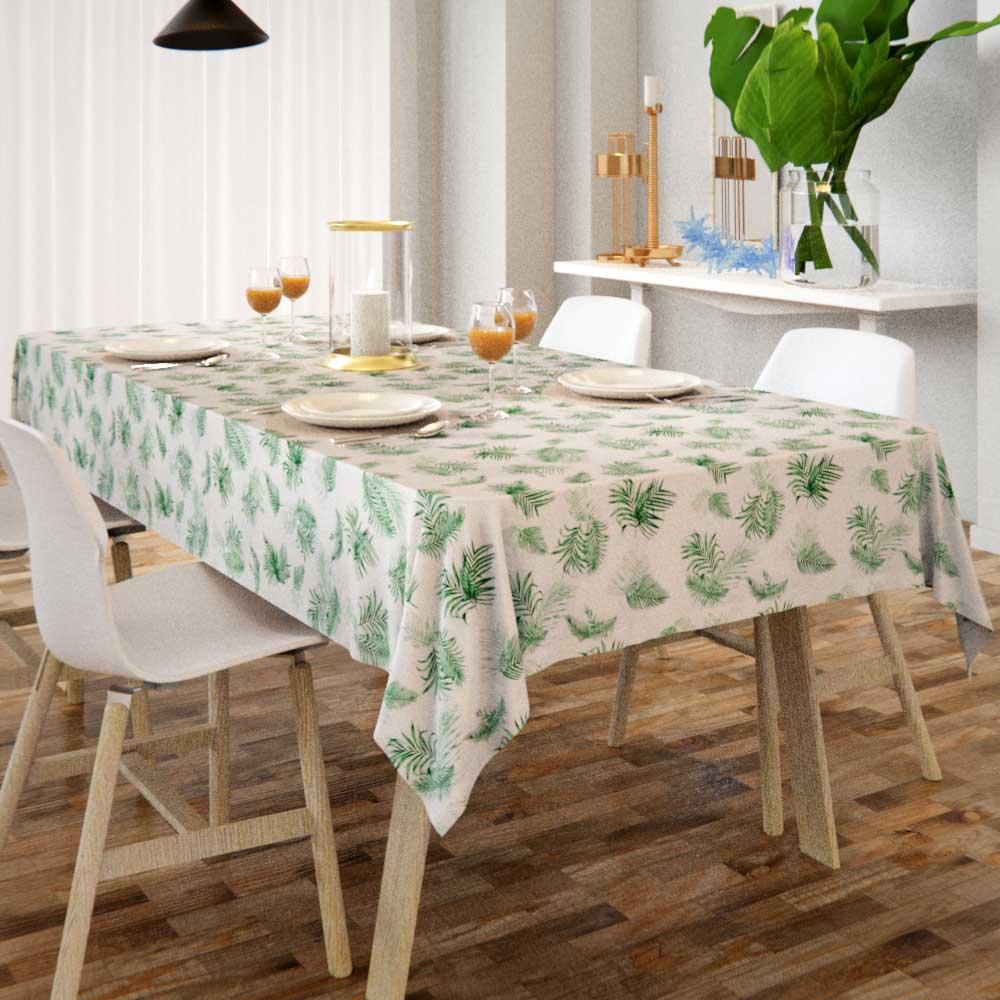 toalha de mesa branca com estampa de folhagens retangular para café da manhã