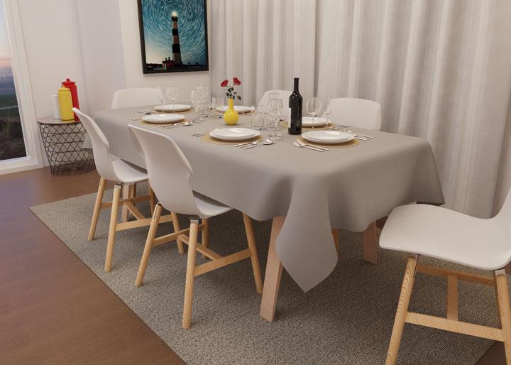 toalha de mesa cinza oxford