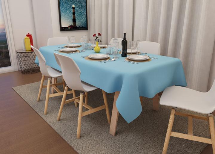 toalha de mesa oxford azul bebê para aniversário