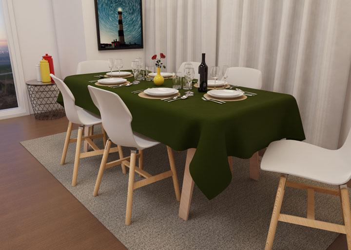 toalha de mesa oxford verde oliva