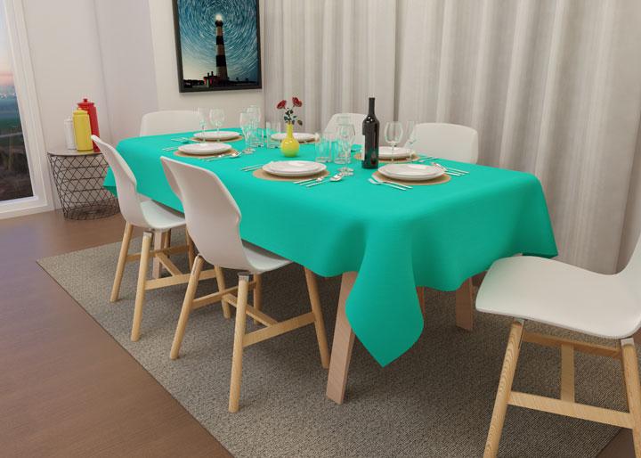 toalha de mesa oxford verde água decorativa
