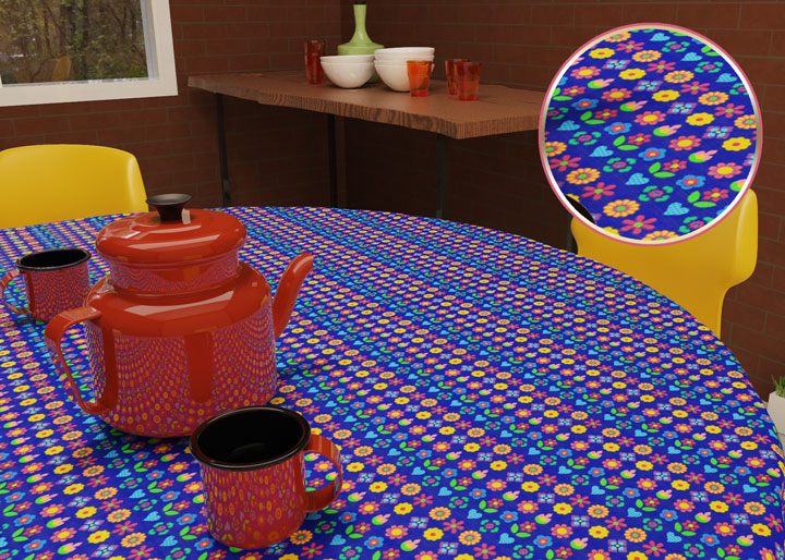 toalha de mesa redonda 4 lugares azul com flores