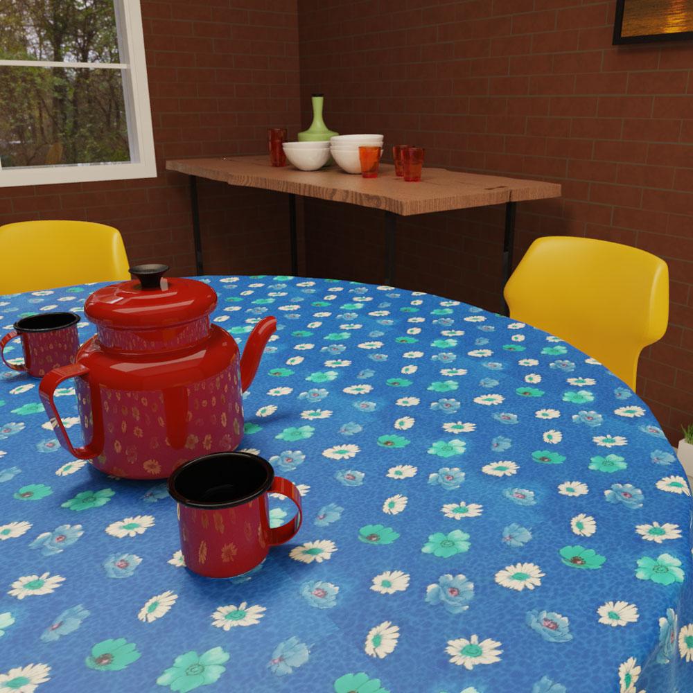 toalha de mesa azul redonda para café da manhã