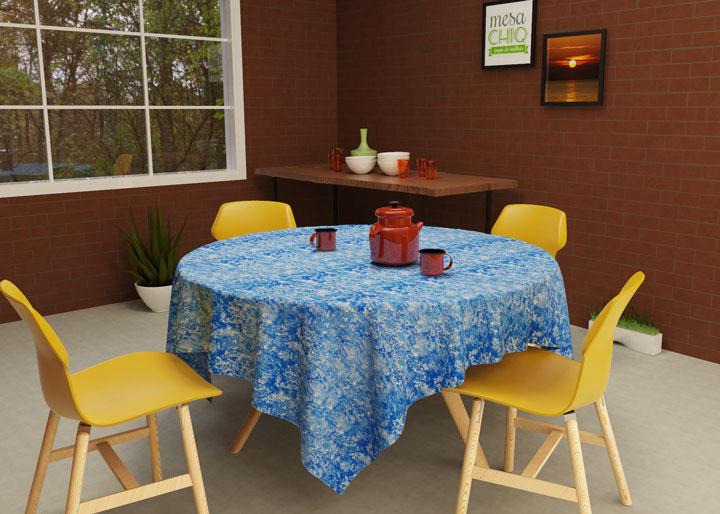 toalha de mesa redonda 4 lugares azul
