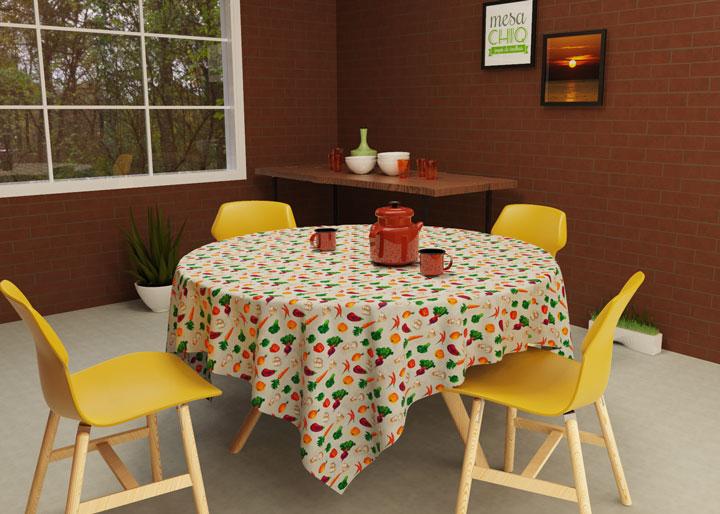 toalha de mesa redonda 4 lugares com vegetais