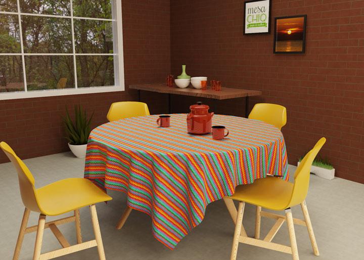 toalha de mesa redonda colorida chevron 4 lugares