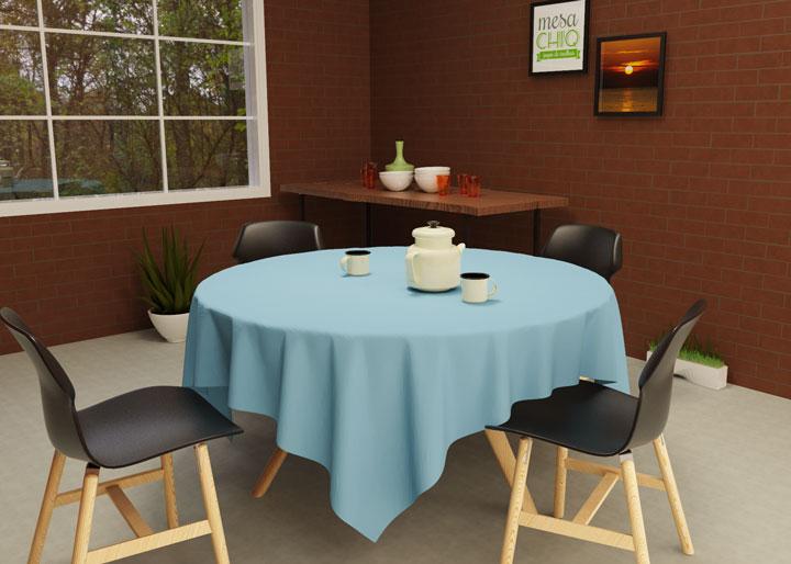 toalha de mesa lisa redonda 6 lugares azul claro