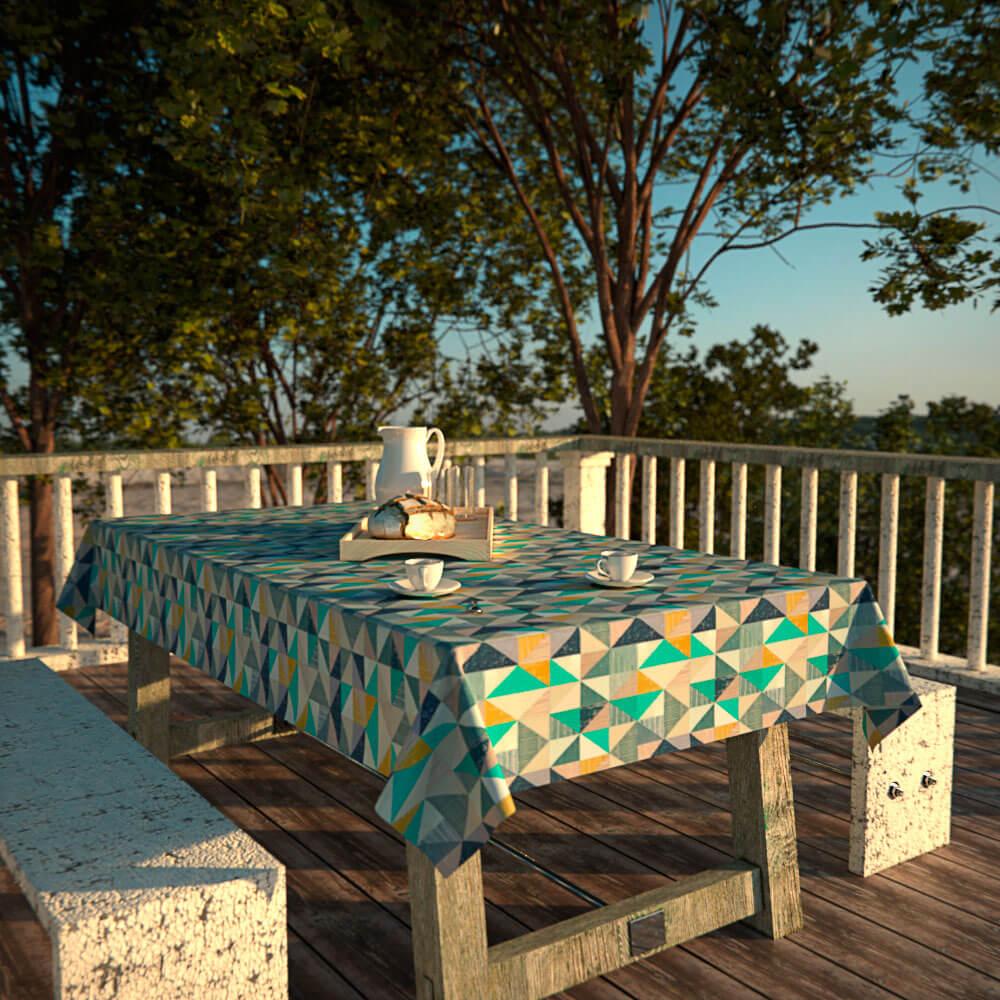 toalha de mesa impermeável com caída de tecido