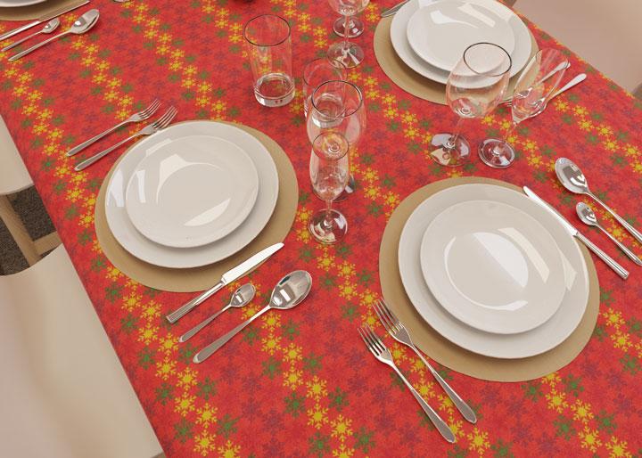 toalha de mesa pequena natalina vermelha com detalhes em dourado e verde