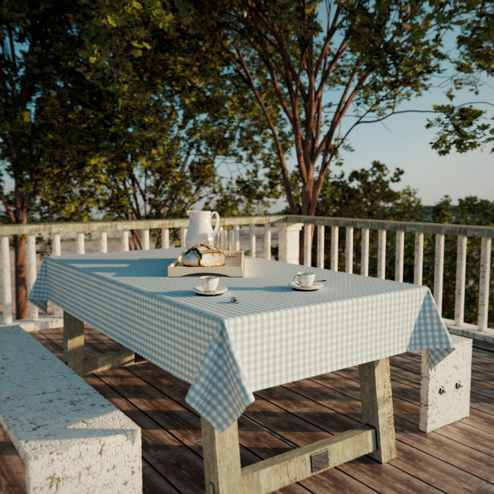 toalha de mesa rretangular xadrez azul 6 lugares