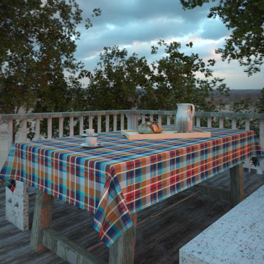 toalha de mesa retangular xadrez amarela para café da manhã