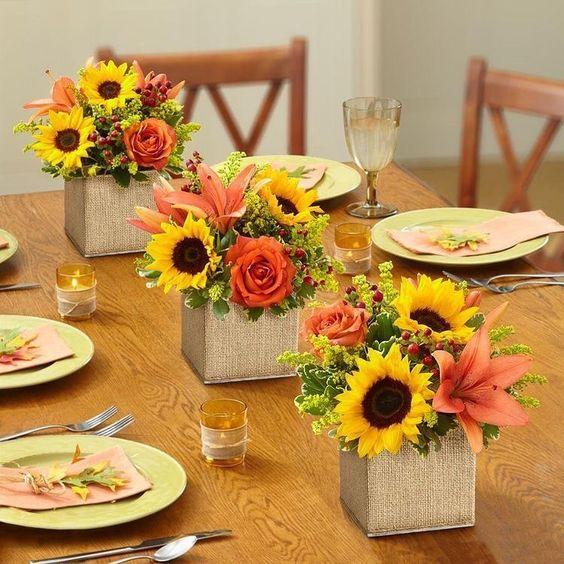 arranjos florais para combinar com decoração de mesa