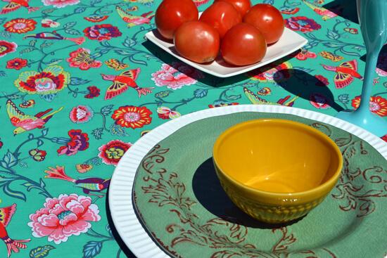 toalha de mesa retangular verde floral ideal para café da manhã