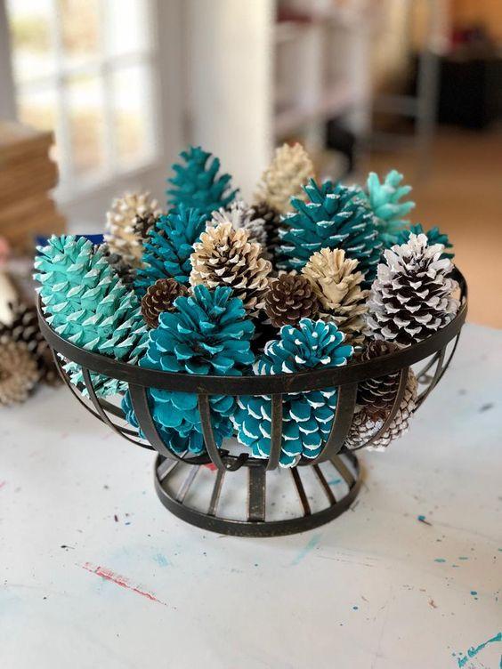 pinhas pintadas para decoração de mesa natalina blog mesa chiq