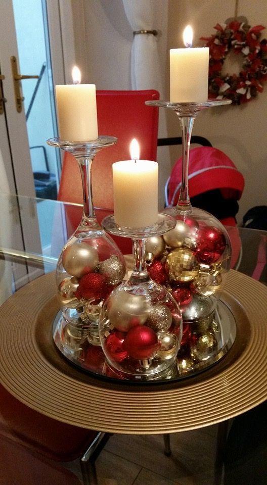 taças invertidas de arranjos de mesa de Natal blog mesa chiq
