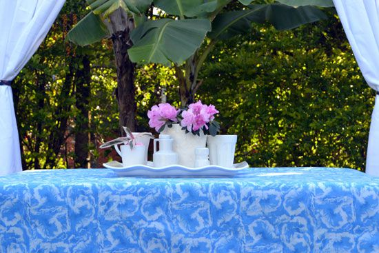 toalha de mesa sob medida azul textura
