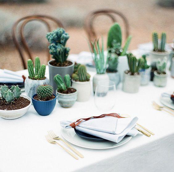 decoração com toalha de mesa branca oxford e cactos