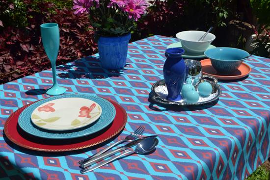 toalha de mesa pequena 4 lugares azul