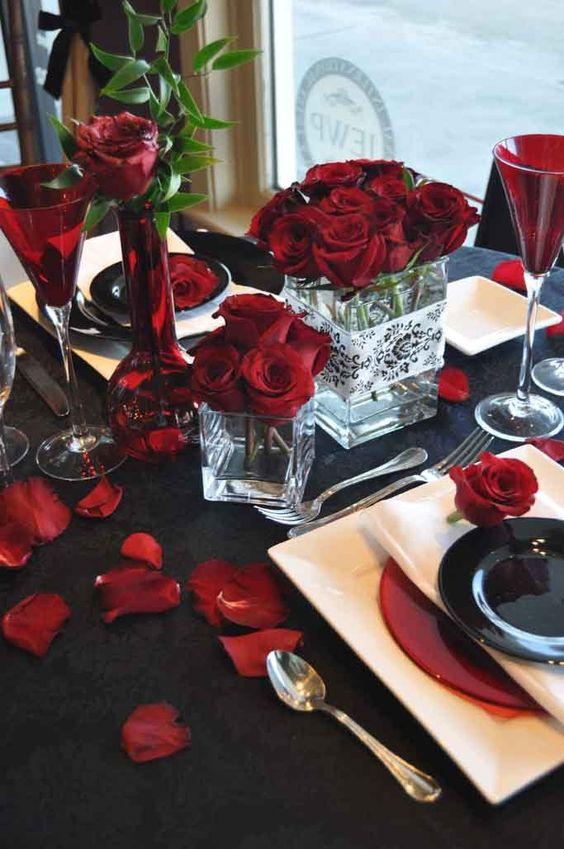 toalha de mesa preta para encontro romântico ou dia dos namorados