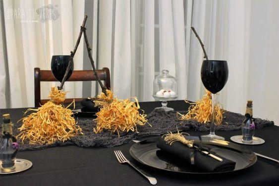 toalha de mesa preta para decorar dia das bruxas
