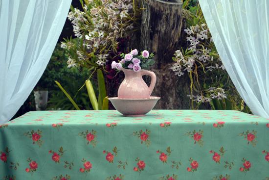 Toalha de Mesa Verde 10 Lugares Retangular Floral Blumens