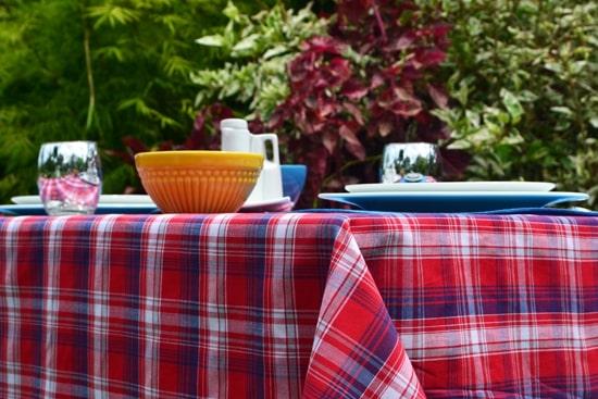 toalha de mesa pequena xadrez vermelha tradicional