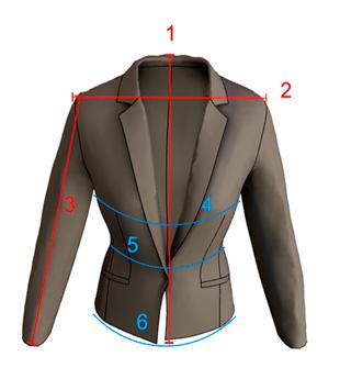 Imagem de Blazer explicando como medir o comprimento, costa, mangas, busto, cintura e quadril