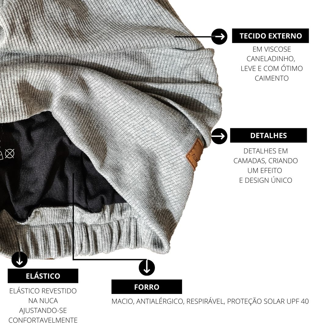 Touca Beanie em tecido canelado na cor cinza unissex