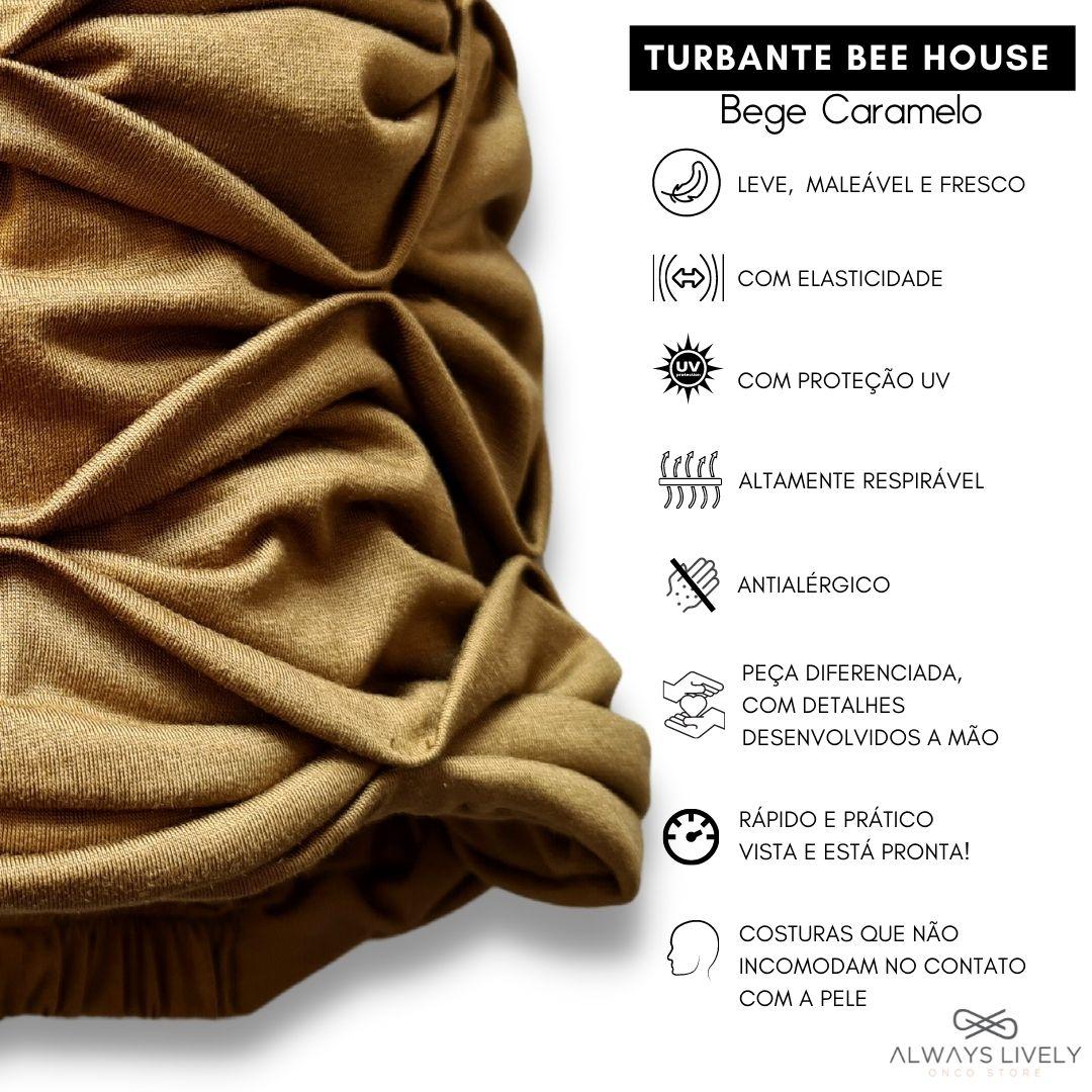 Turbante na Cor Bege Caramelo com detalhes costurados a mão sobre tecido liso formando lindo efeito