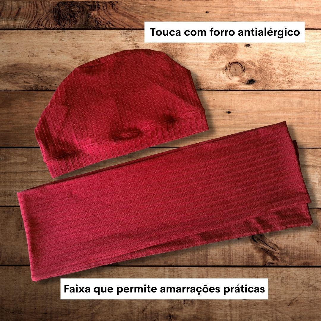 turbante composto por touca e faixa canelado vermelho bordo