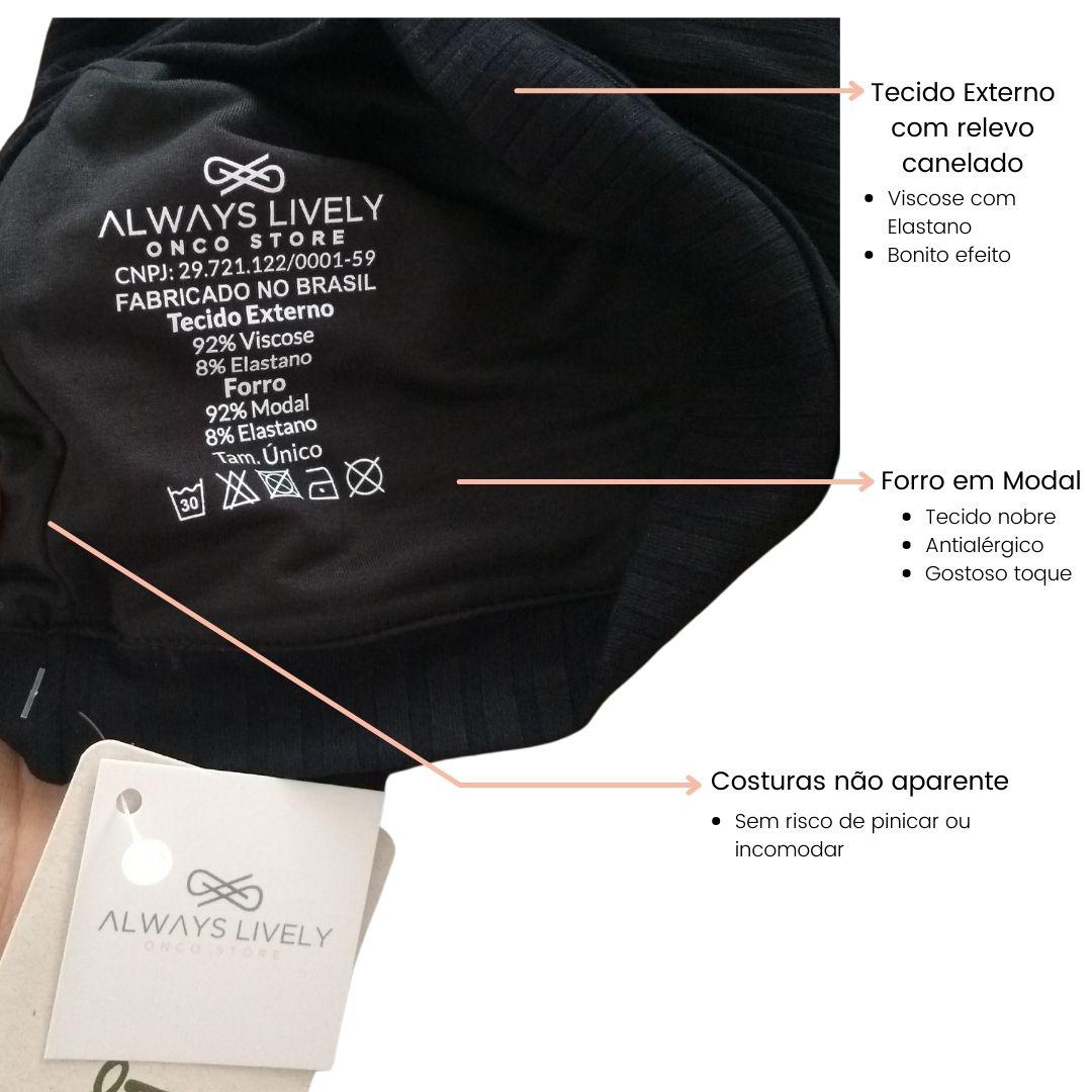 turbante preto canelado tecido antialergico sem costura interna aparente