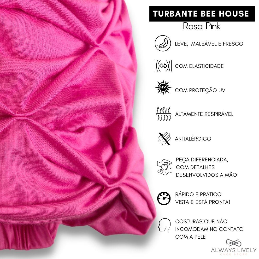 Turbante cor Rosa Pink com detalhes à mão formando detalhes sobre o tecido liso