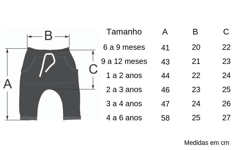 tabela de medidas calça infantil