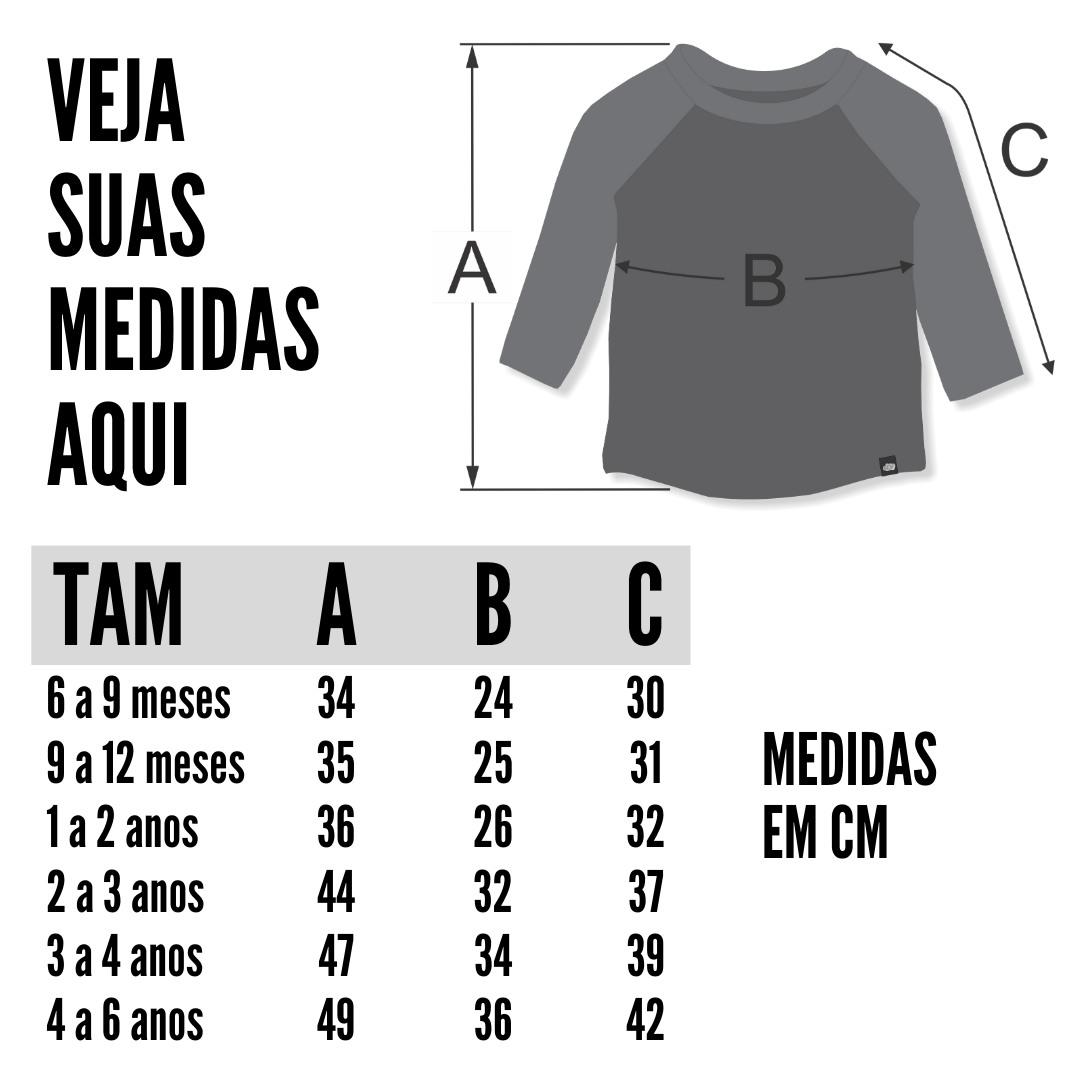 tabela de medidas camiseta manga longa