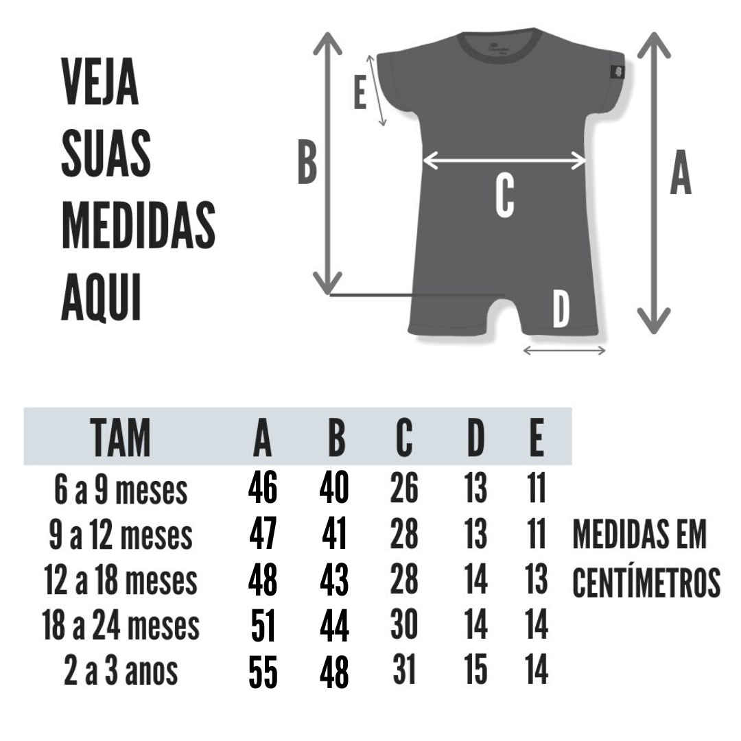 Tabela de Medidas Macacão Curto