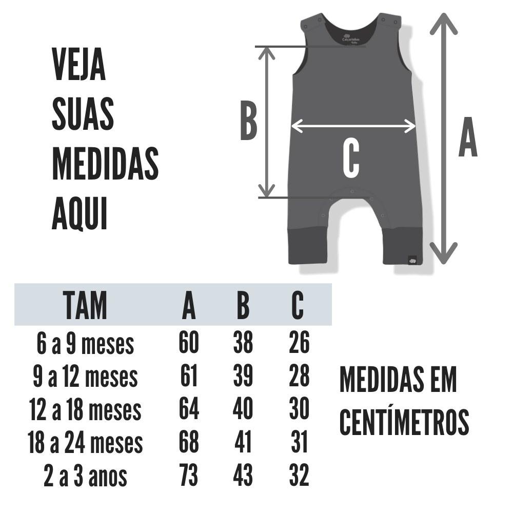 Tabela de medidas macacão Bebê