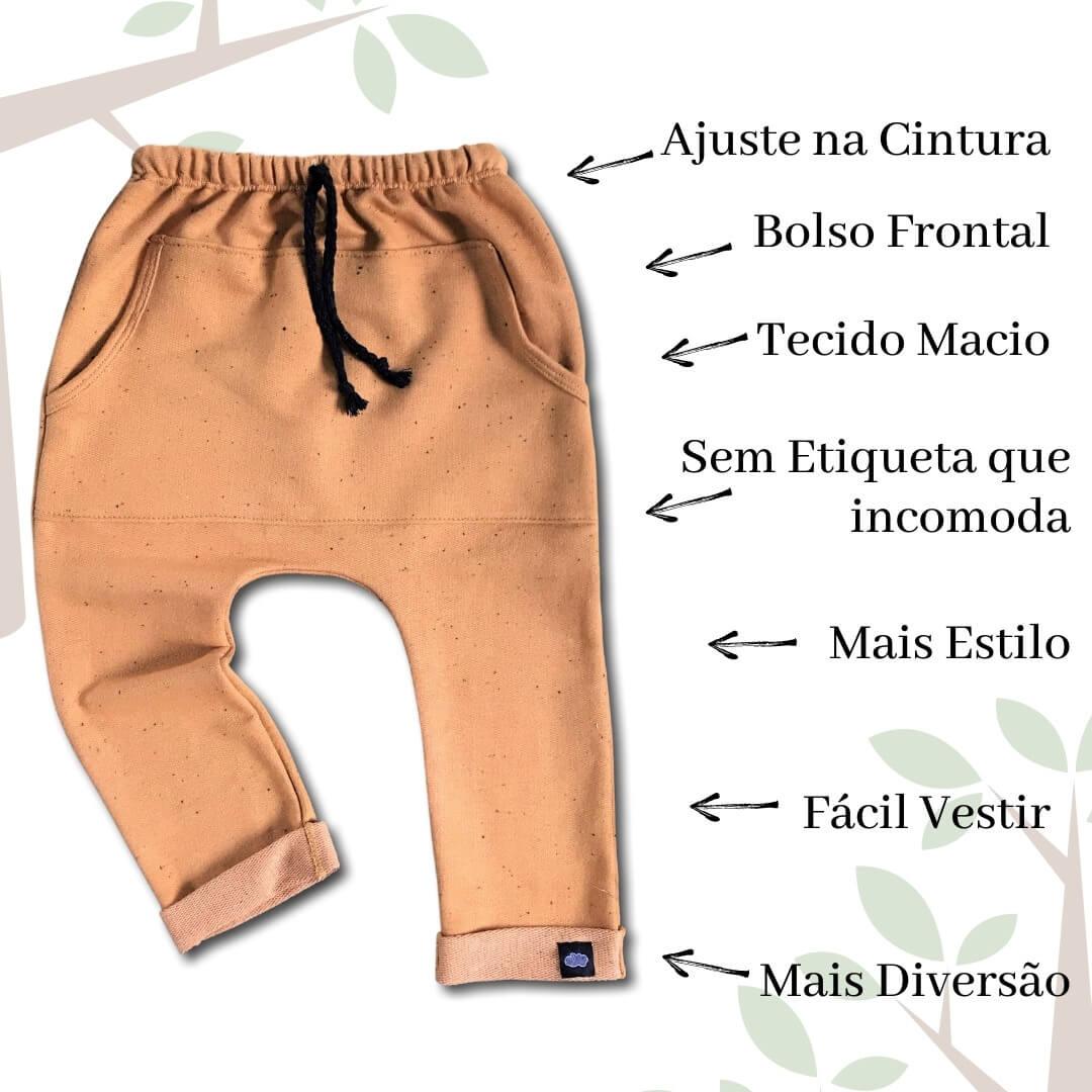 calça infantil mostarda top de linha