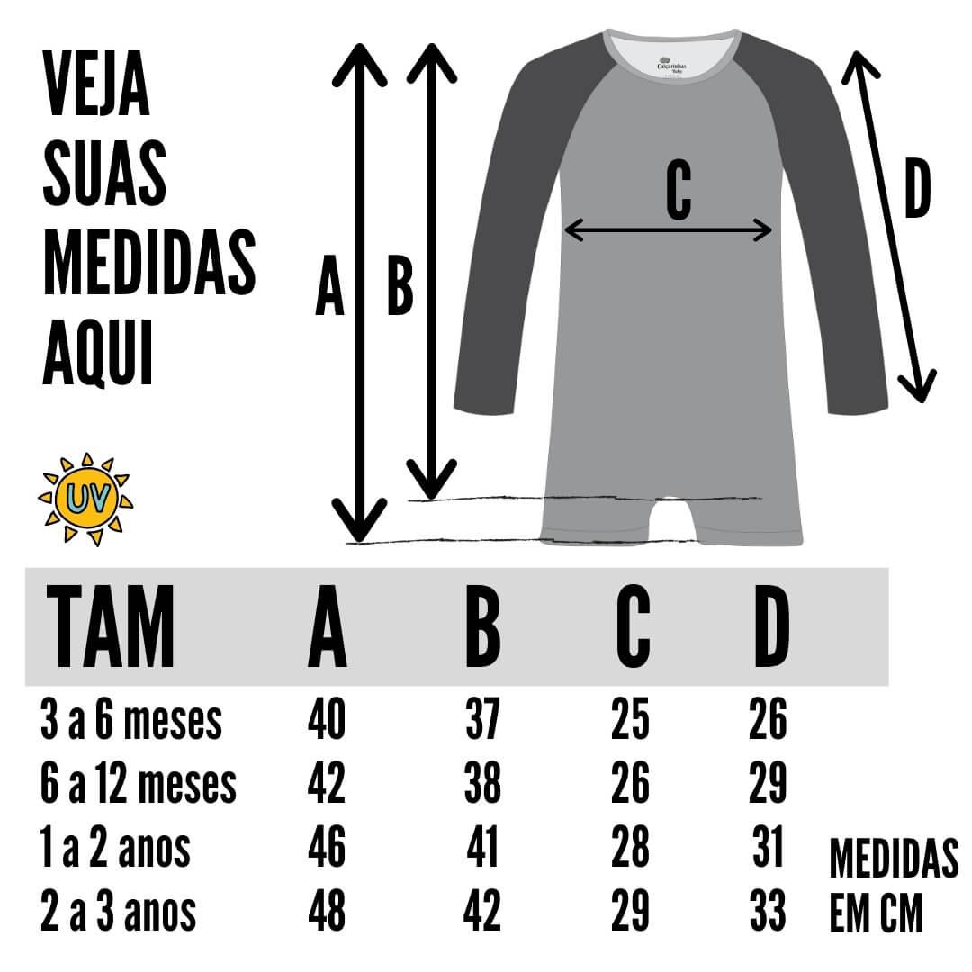 tabela de medidas macacão uv 50+