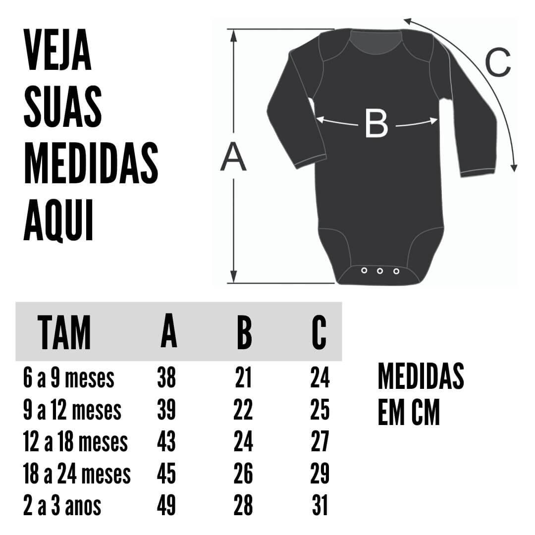 Tabela de Medidas Body Manga Longa