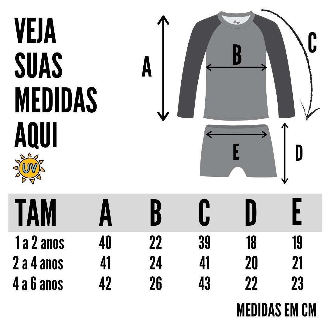 tabela de medidas camisa proteção solar infantil