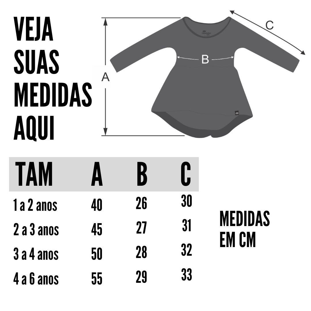 tabela de medidas vestido manga longa