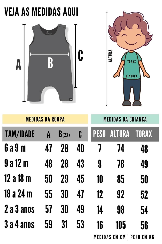 tabela de medidas macacão infantil azul claro