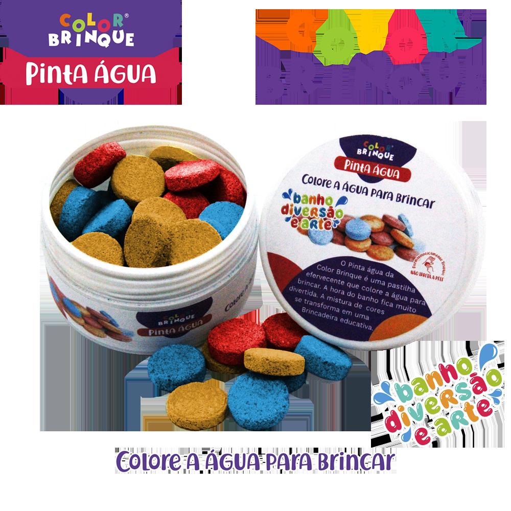 imagem do produto pinta água, pastilhas efervescentes que colorem a água de tres cores: amarelo, azul, vermelho