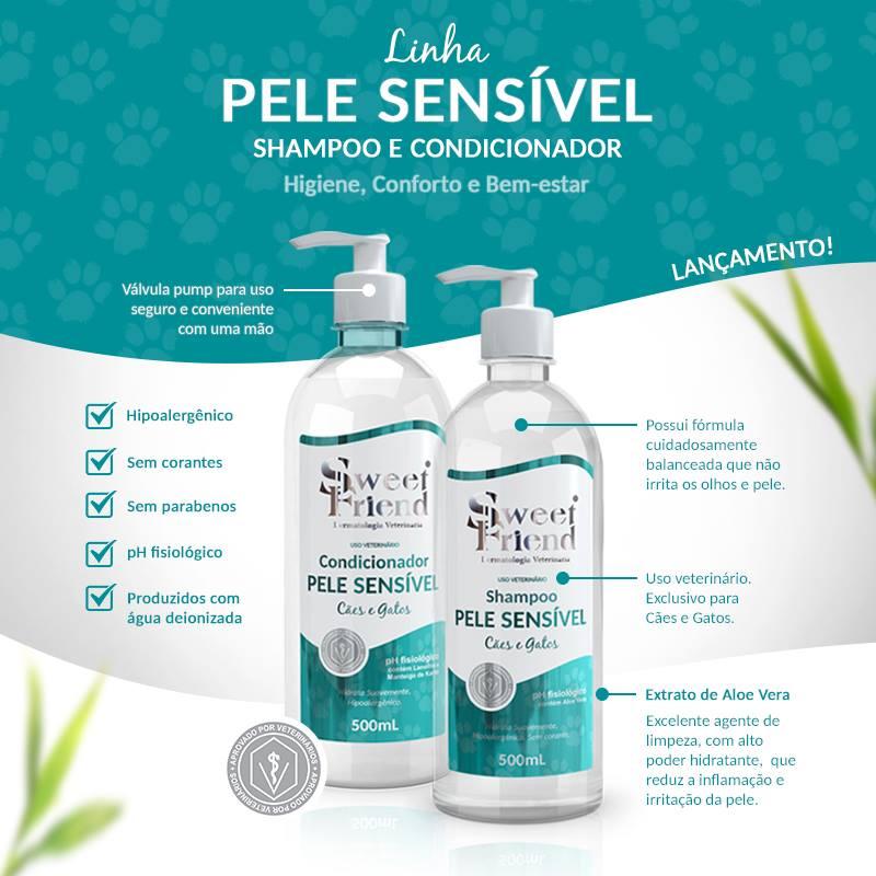 Shampoo e condicionador cachorro pele sensivel sweet friend